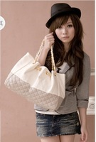 Free Shipping Beige and white new arrival of Pattern Ladies pure  Sale Leather  High Quality Tote Bags Promotion  Hobo Handbag