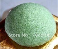4pcs/lot 4colors Semicircular 100%Natural Green Tea Konjac Facial Sponge Facial Wash Cleaning Puff 74*74*33