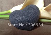 50pcs/lot 4colors Heart 100% Natural Charcoal Konjac Facial Sponge Facial Wash Cleaning Puff 95*72*28