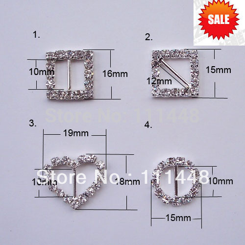(S0307) Rhinestone buckle, Mix design order accept, 100pcs/lot,full of crystal fit wedding ribbon and hair jewelry.(China (Mainland))