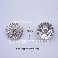 (M0558)  20mm rhinestone embellishment , rhinstone cluster,arch shape,silver or light rose gold plating,flat back