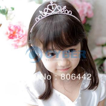 New Cute Children Kids Girls Rhinestone Princess Hair Sticks Crown Headband Tiara