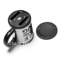Free shipping Plain Lazy Self Stirring Mug / Bluw coffee mixing cup#8750