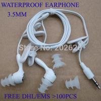 FREE shipping 10pcs 3.5mm Earphone Headphone for waterproof mp3 player