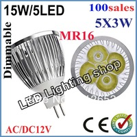 100pcs/lot Promotion Product!!!MR16 15W AC/DC12V LED Light Bulb LED Lamp Spotlight Downlight Buy  4pcs free shipping