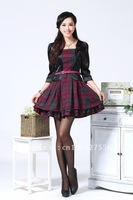 2013 Spring and Autumn Fashion OL  Elegant Slim Plaid Faux Two Piece set Dress,Casual Work Dresses Free Shipping QH011