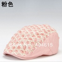 Wholesale ladies sprint autumn winter fashion luxury adjustable rose lace beret caps