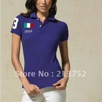hot selling Cute Style Fashion Italy flag style Women 's polo shirts short sleeve T shirt Eur size embroidery logo shown
