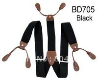 Adult Braces Unisex Suspender Adjustable Leather Fitting Six Button Holes Black  BD705