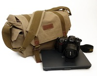 BD105 DSLR SLR Camera Shoulder Bag with laptop pocket and Waterproof Insert Vintage Washed Canvas Big