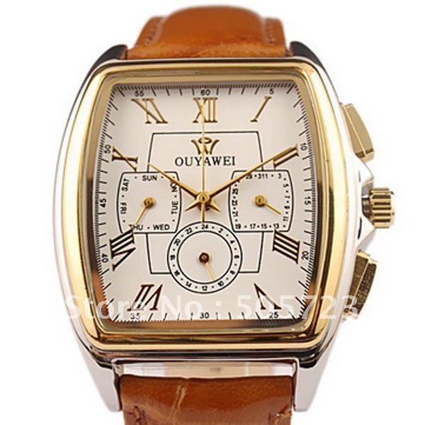 Free Shipping Fashion Style 3 Dial Hand Wind Automatic Mechanical Men's Watch Japan Movt Date Weekday 12/24H Leather White Gift(China (Mainland))