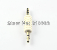 Free shipping (5 pieces/lot)  3.5mm audio dual track adapter 3.5mm male plug to 3.5mm male plug straight connector adapter