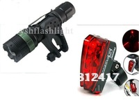 SA-9 Flashlight 400Lumens 7W CREE Q5 LED Adjustable ZOOMABLE Torch bicycle light+holder+Red Lear Rear light freeshipping!