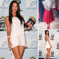 Real Photo Megan Fox movie awards chiffon double traps beads accented backless white mini celebrity dresses evening dress