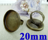 20mm Vintage Antique Bronze Round Circle Deep Edge Bezel Cups Cabochon Ring Settings Blank DIY Cameo Rings Making Wholesale