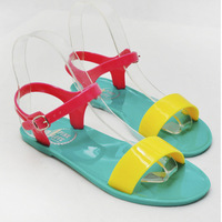 2014 New Woman  Flat Sandal, Flat Jelly  Shoes,Ladies' Elegant Flat Sandals Contrast Color Classic Big Size