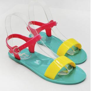 2015 New Woman  Flat Sandal, Flat Jelly  Shoes,Ladies' Elegant Flat Sandals Contrast Color Classic Big Size