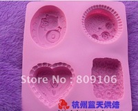Wholesale ,Silicone 4hole Soap Cake Mould Baking Cupcake Mold 21*19.5*3cm shipping