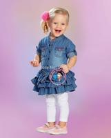 6 sets/lot girl's casual suits denim cake skirts fashion jeans dress + white pants leggings children's clothes sets clothing set