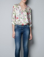 Free shipping  2013 Hot sale   Ladies Postoral floral V-neck Rivet decorate chiffon shirt Girls Womens  casual shirt