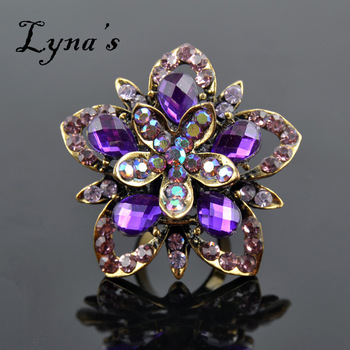Top Quality Vintage Flower Rings Purple Shiny Rings R-002