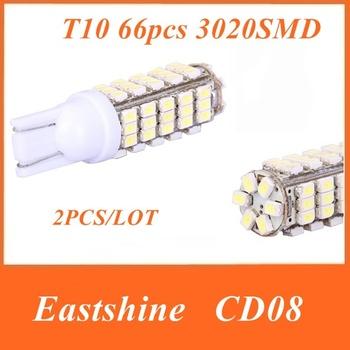 Free Shipping + 2PCs CD08 T10 White LED Car Wedge Headlight Bulb 3.5W 12V 3020 SMD 66 LED 360 Lumens Car Light Blub