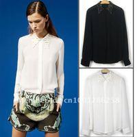 2012 NEW Rivet Detail Collar See Through Vintage Soft Shirts Blouse Tops S M L