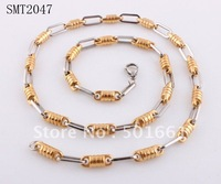free shipping fashion 2013 new titanium steel chain Two tone stainless steel mens necklace link gold cylinder for men jewelry
