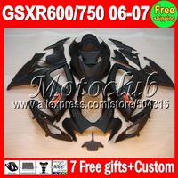On sale+7gifts ALL Flat black For SUZUKI GSXR600 GSXR750 K6 06-07 GSXR 600 750 GSX-R600 R750 K6 06 07 2006 2007 Matte Fairing