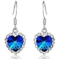 JS E005 Titanic The Heart Of The Ocean Crystal Drop Earrings For Women Fashion Earings Bride Wedding Earring Classic Jewelry
