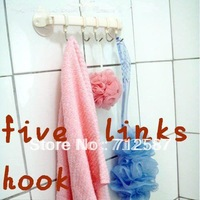 Suction wall five linked hook high quality  For Bathroom Storage Tool free shipping#8745
