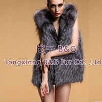 BG6364 Genuine Silver Fox Fur Gilet With Hood  Wholesale Retail Winter Sexy Ladies Fox Fur Vest