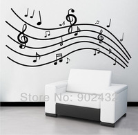 Free Shipping Removable Black Music Notes Wall Sticker Decals Living Room Home Decor