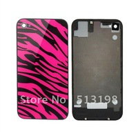 NEW rose red zebra Glass Back Cover Housing replacement Assembly For Apple iPhone 4S A227