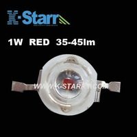 FREE SHIPPING! Wholesale 1W RED High Brightness 35-45lm High Power Led, 620-630nm ,50pcs/lot,2years Warranty