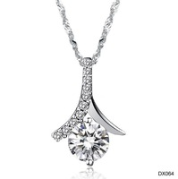 OPK  New Korean jewelry female platinum Plated drill Pendant Necklace inlaid AAA+ Swiss Crystal,  DX064