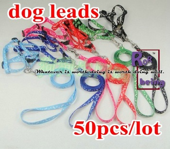 Dog Lead 50pcs/lot  Pet Collar Adjustable 1CM Print Rope Small Pet Dog Cat Rope Lead Leash Harness Chest Strap