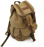 BD202 Vintage canvas DSLR Camera Backpack khaki Shoulders Bag with insert Casual Rucksack for School travel men women