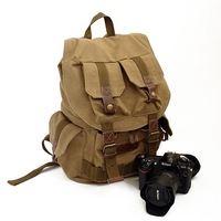 Vintage canvas DSLR Camera Backpack khaki Shoulders Bag For Sony Nikon Canon with waterproof  Partition Padded Bag freeshipping