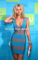 Free shipping V-neck Slim Super Stretch Bandage Dress 120820HL03