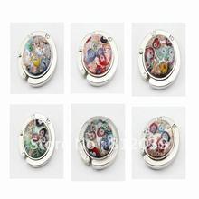 Wholesale Mix color Fashion Vintage Art Flower lampwork murano glass folding purse hook handbag holder bag hanger Jewelry