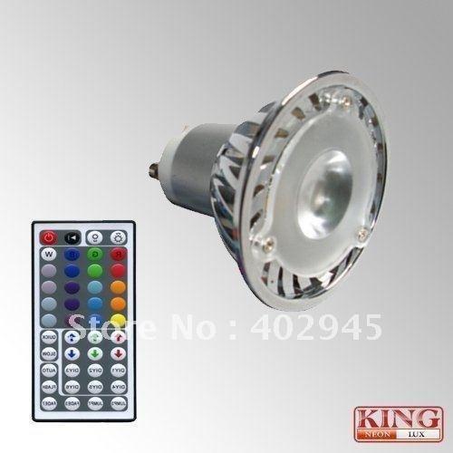 DHL shipping 12pcs/lot RGB LED spot light 1x3W GU10 socket rgb led bulb 3w infrared remote controller IR remote controller(China (Mainland))