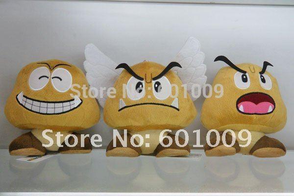Free Shipping EMS 20/Lot 3PCS New Super Mario Bros Goomba Plush Doll Soft Toy Wholesale(China (Mainland))