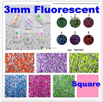 Free shipping 5x1000pcs/bag, 3*3mm,  Fluorescent  Color, Square Shape Nail Metallic Decoration, 3D nail art studs