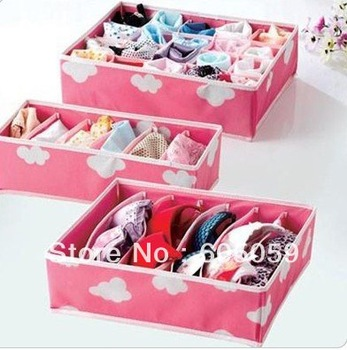 J6J SB037 pink color White Cloud Pattern On Non-Woven underwear socks Storage Boxes Storage Bags