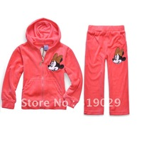 New Arrival Velour clothes Girls sport set/suit 2012 Autumn 2pcs/set Kids suits Baby wear Casual clothes Children clothing