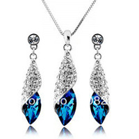 Free Shipping Muti Colors Crystal Necklace Set  2Pcs Earrings&Necklace Set Fashion Jewelry Top Quality Crystal Set 300sets/lot
