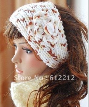 Fedex  Shipping 2012 Newest hot sale Handmadenew bright Handmade Headbands crochet Flower soft acrylic three tone color