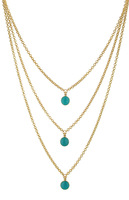 Gorgeous Gold Tone 3 Strands Enamel Disc Layered Necklace Free Shipping Must Have Necklace