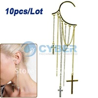 Free Shipping 10pcs/Lot New Design Cool Punk The Cross Chain Tassels Ear Cuff Earring Non Pierced Ear